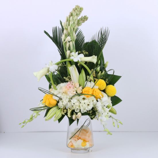 Yellow and White Small Sympathy Arrangement